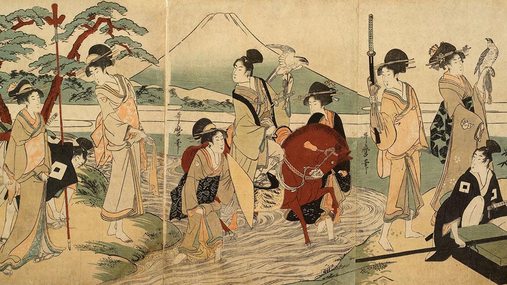 Kitagawa Utamaro's 'Party in front of Mount Fuji